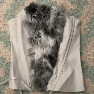 J. Valentine Faux Fur and Leather Corset